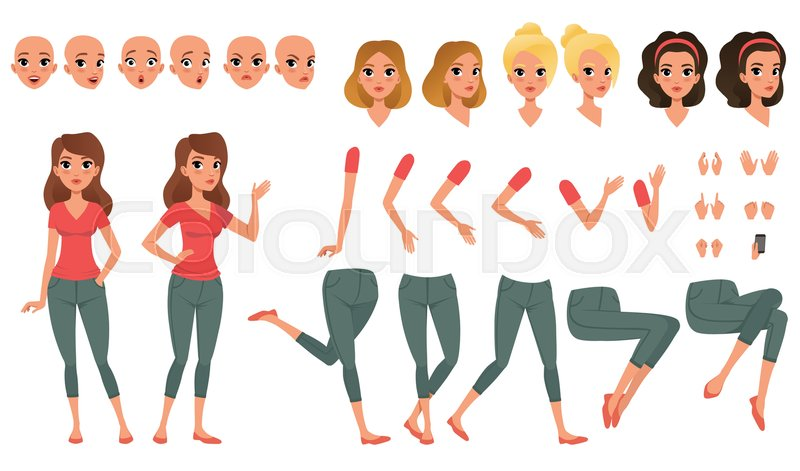 Stock vector of 'Pretty young woman constructor in flat style. Parts of body legs and arms , face emotions, haircuts and hands gestures. Cartoon girl character creation set. Vector illustration isolated on white.'