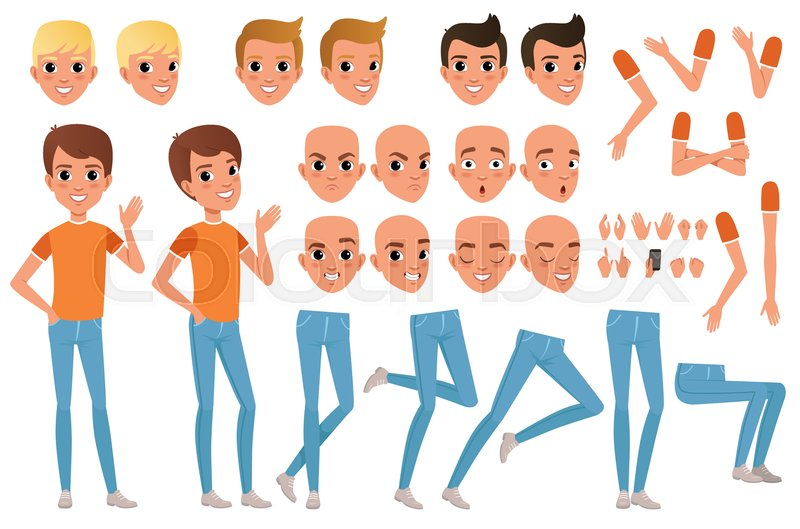Stock vector of 'Teenager boy character constructor. Set of various male emotion faces, hairstyles, hands, gestures and legs. Guy full length portrait isolated on white background. Flat design vector illustration.'