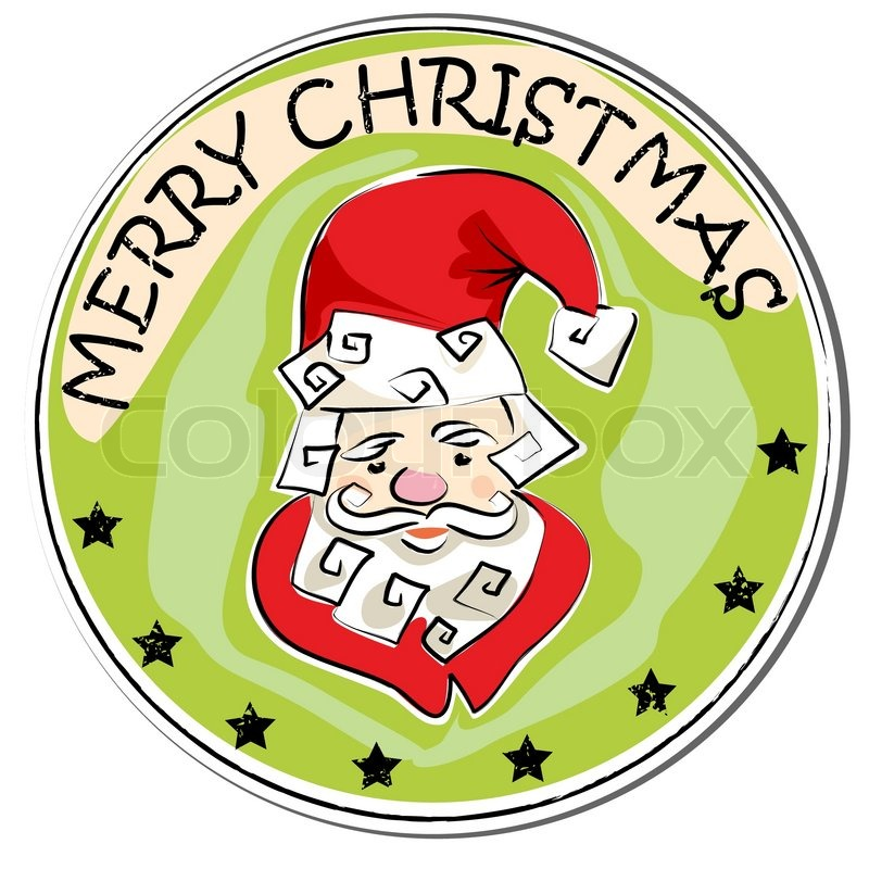 merry christmas retro sticker with santa claus isolated on white stock vector colourbox - Merry Christmas Stickers