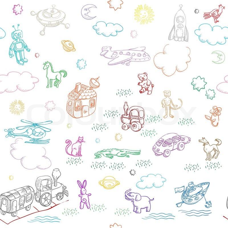 spielzeug doodles muster f r jungen und m dchen getrennt. Black Bedroom Furniture Sets. Home Design Ideas