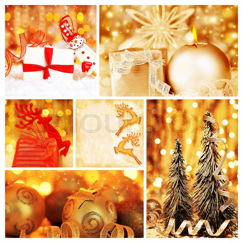 Golden Collage Of Christmas Tree Decorations Diversity Of