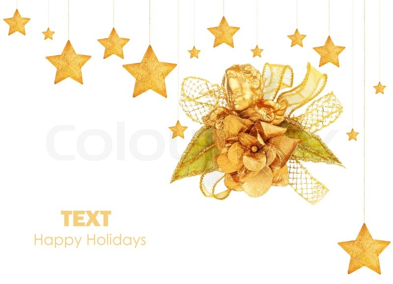 Christmas Holiday Background Photograph By Anna Om: Golden Stars With Angel Christmas Tree Ornaments And