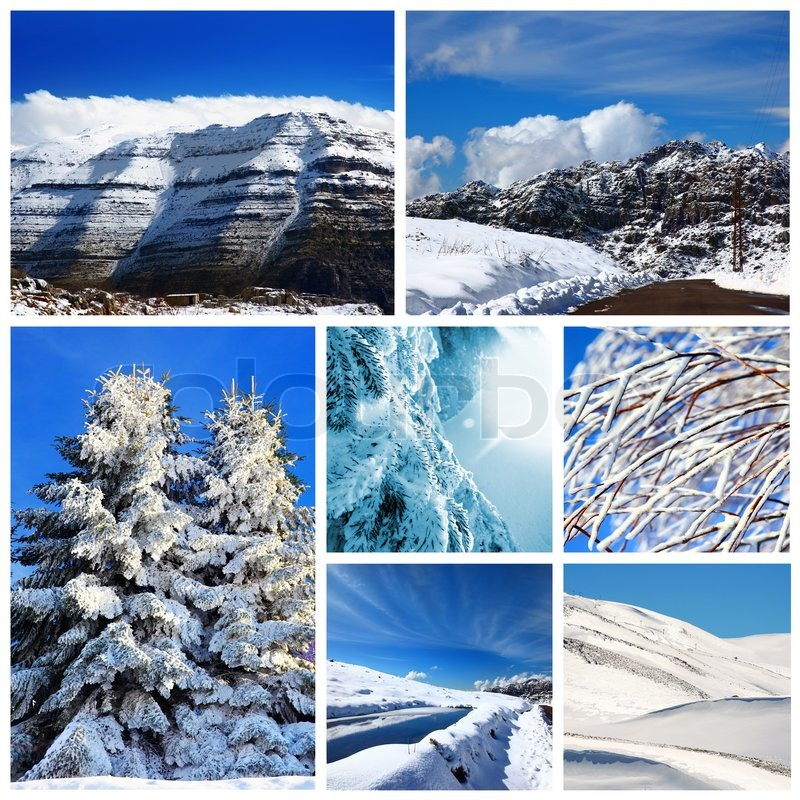 Beautiful Winter Collage Collection Of Cold Weather Landscapes With Mountains Trees Covered Snow Over Blue Sky