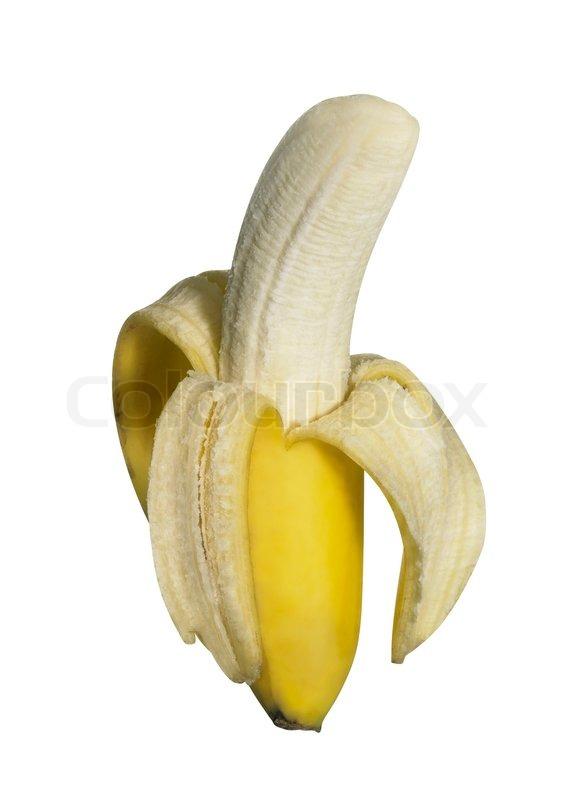 h lfte gesch lt frisch banane isoliert auf weiss mit beschneidungspfad stockfoto colourbox. Black Bedroom Furniture Sets. Home Design Ideas
