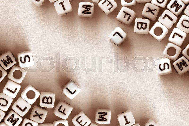 English Alphabet Cube On White Paper Background English Language