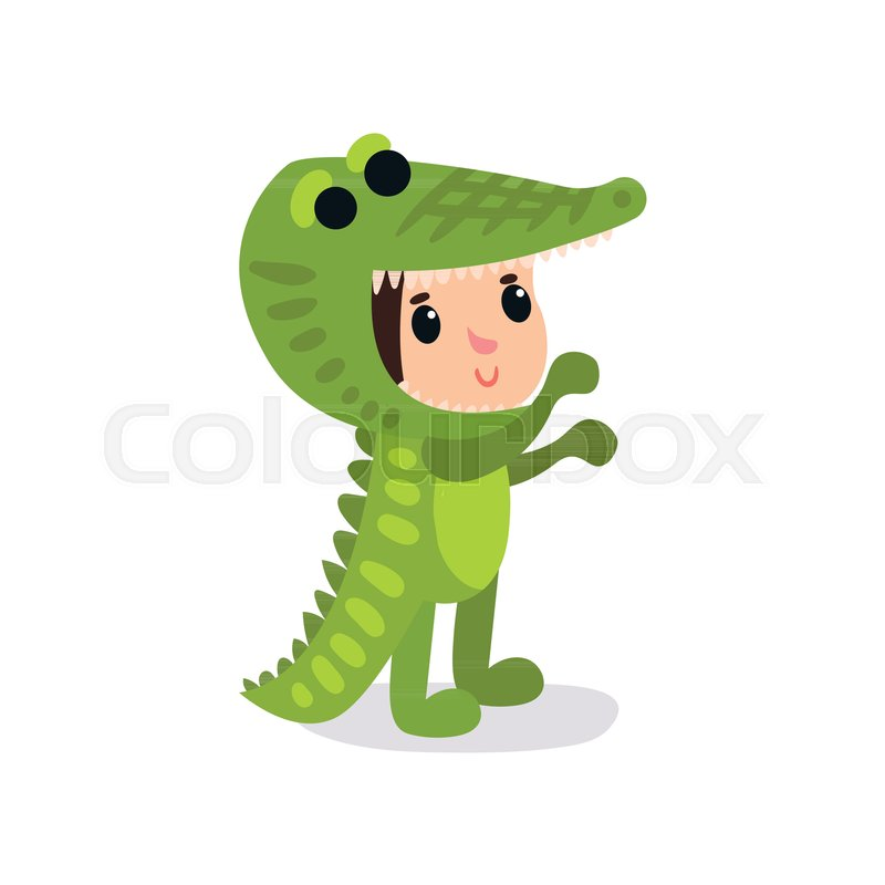 cute cartoon child in funny crocodile costume boy or girl character