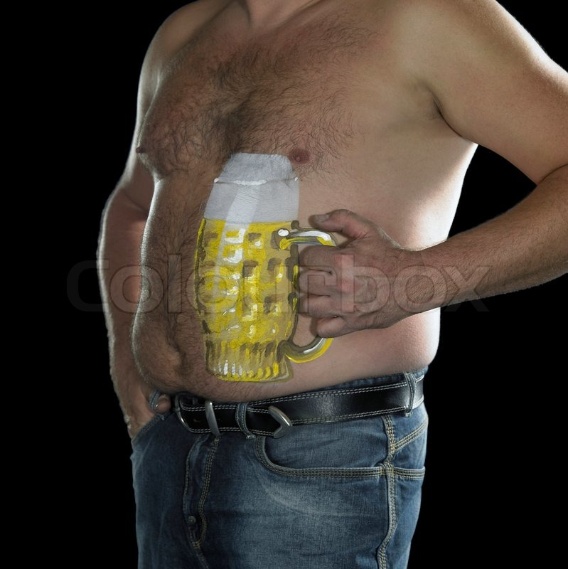 Man with naked potbelly   Stock Photo   Colourbox
