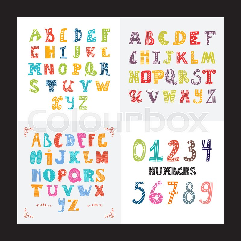collection of three funny alphabets and set of numbers cute