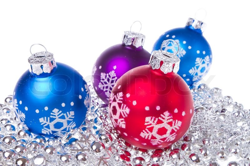 Christmas balls with tinsel isolated on white background, stock photo