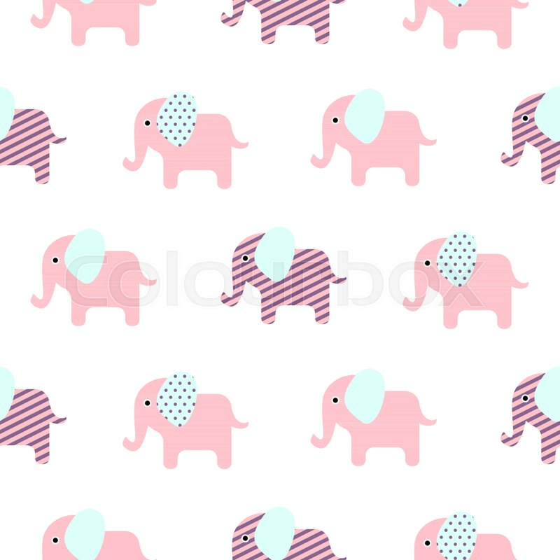 Cute Elephant Cartoon Baby Seamless Vector Pattern Funny Kid Animal Repeat Background For Textile And Wallpaper Design