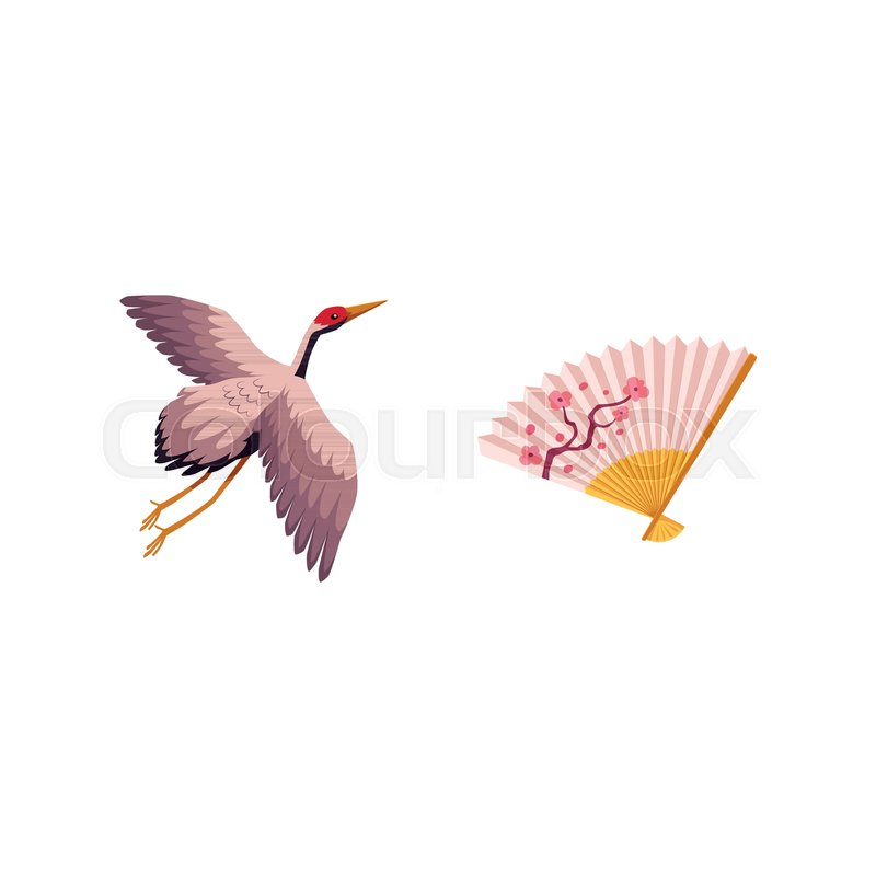Vector Flat Japan Traditional Flying Bird Crane Flapping Wings And