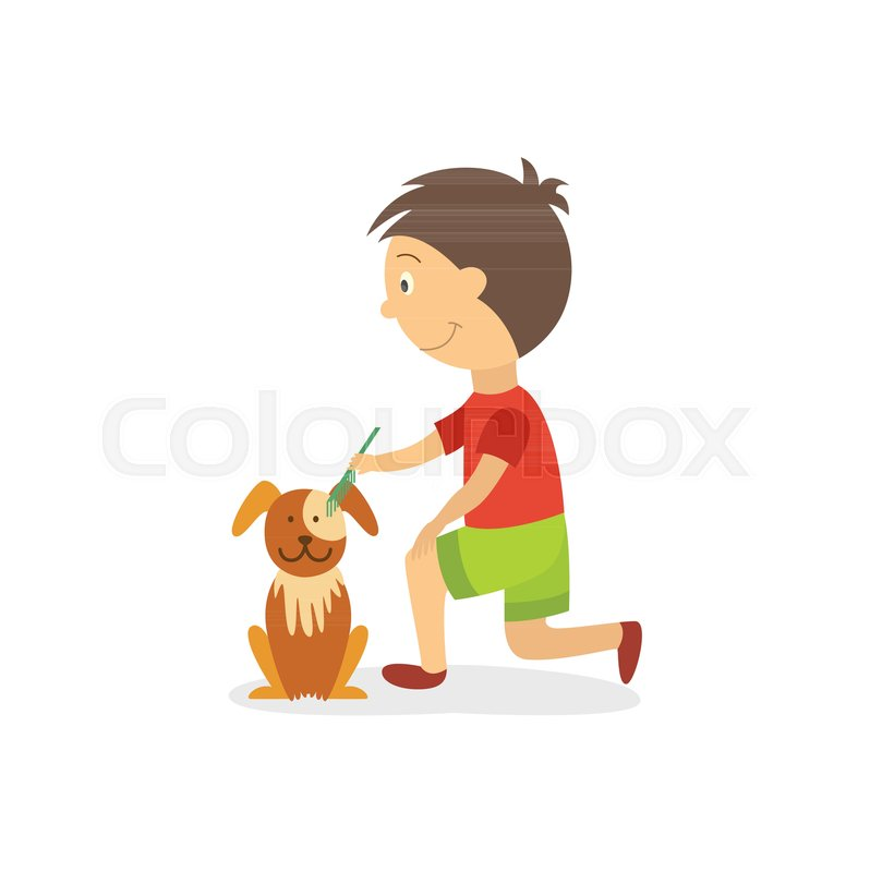 Vector Flat Style Boy Kid Combing Out Stock Vector Colourbox