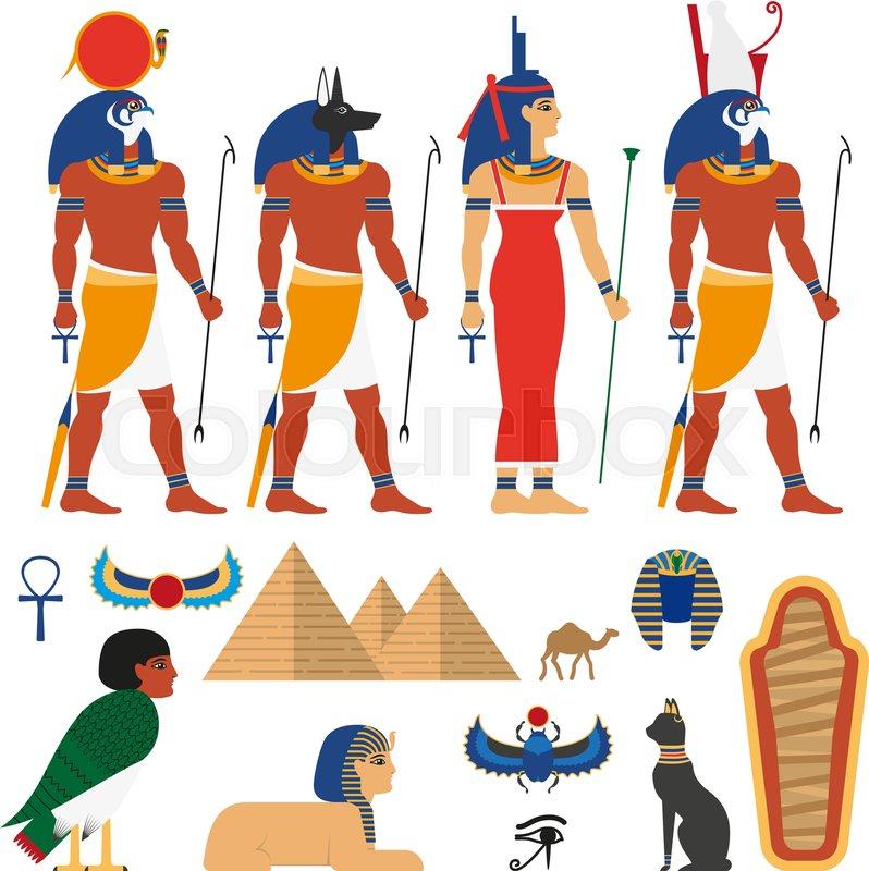 Vector Flat Egypt Gods And Sacred Symbols Set Anubis God With