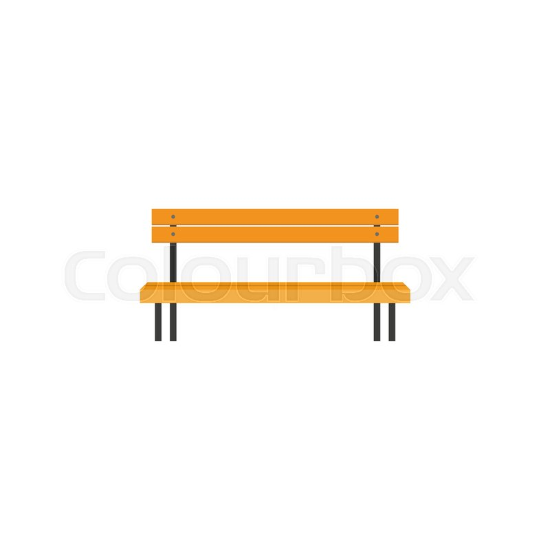 Lobby Bench Clip Art ~ Stylized flat style wooden park bench front view