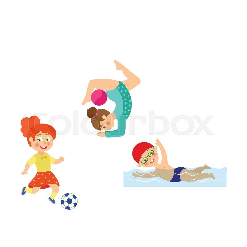 Vector Flat Cartoon Kids Doing Sports Stock Vector Colourbox