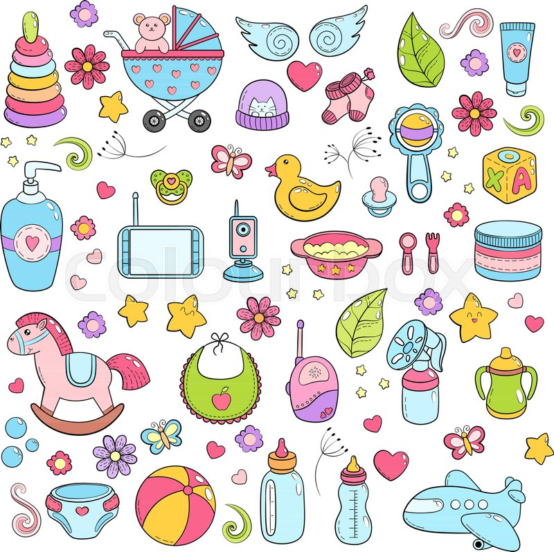 Background Texture Backdrop Pattern Wallpaper With Children Cartoon Doodle Toys Educational Games For Kids Illustration Baby Shower Icons Set