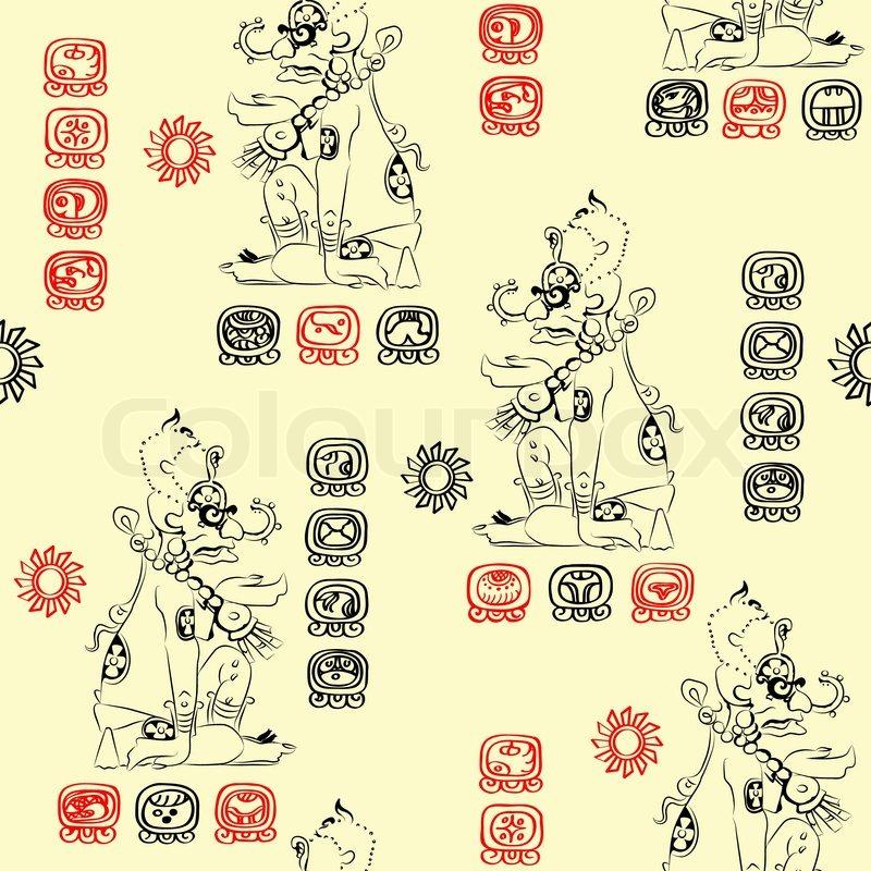 Seamless Pattern With Image Of The Mayan Deity Sun Ah Kin Or