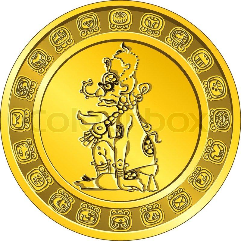 Gold Coin With A Bright Circular Image Of The Deity Maya Sun Ah