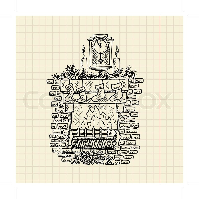 Weihnachten Skizze Kamin, Vektor-Illustration, eps10   Vektorgrafik ...