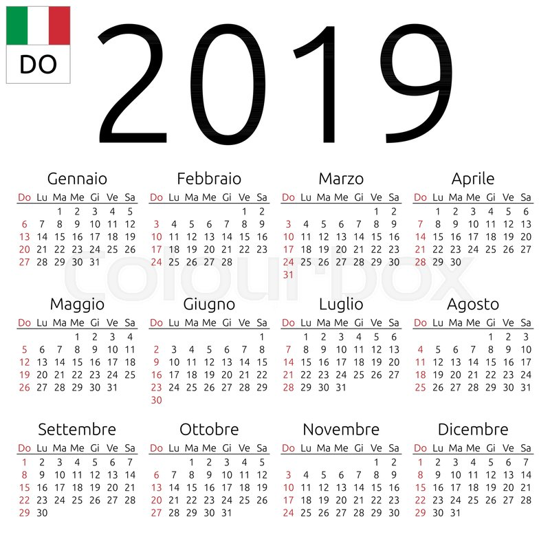 simple annual 2019 year wall calendar italian language week starts on sunday sunday highlighted no holidays highlighted eps 8 vector illustration