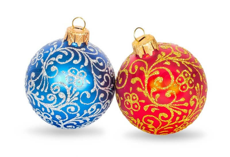 christmas balls red and blue on a white background stock photo colourbox - Red Christmas Balls
