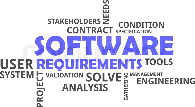 A Word Cloud Of Software Requirements Related Items Stock Vector - Software requirements gathering tools