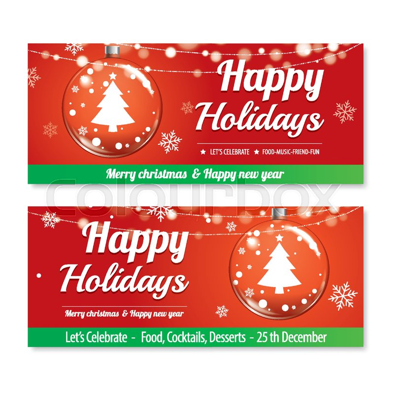 Merry Christmas Party And Glass Ball For Flyer Brochure Design On