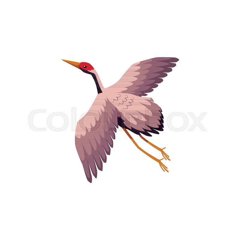 Vector Flat Japan Traditional Flying Bird Crane Flapping Wings