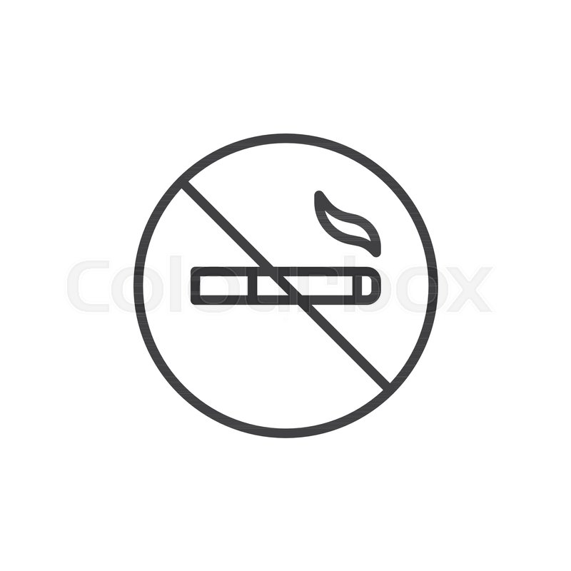 no smoking cigarette line icon outline vector sign linear style pictogram isolated on white symbol logo illustration editable stroke vector