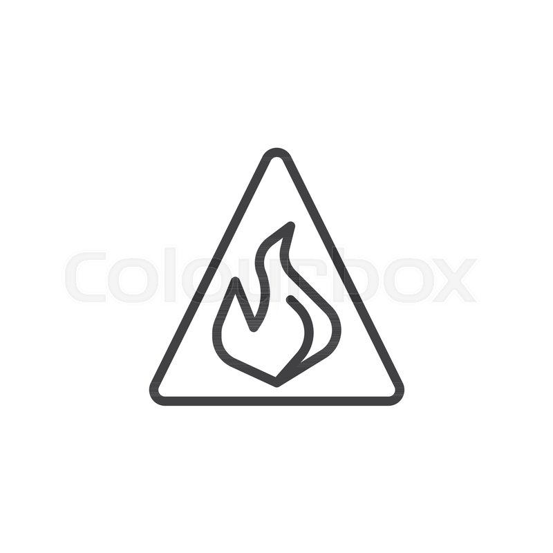 Caution Danger Fire Flame Line Icon Outline Vector Sign Linear