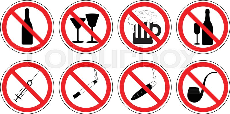 Set Of Prohibition Signs Of Drugs, Drinking Alcohol