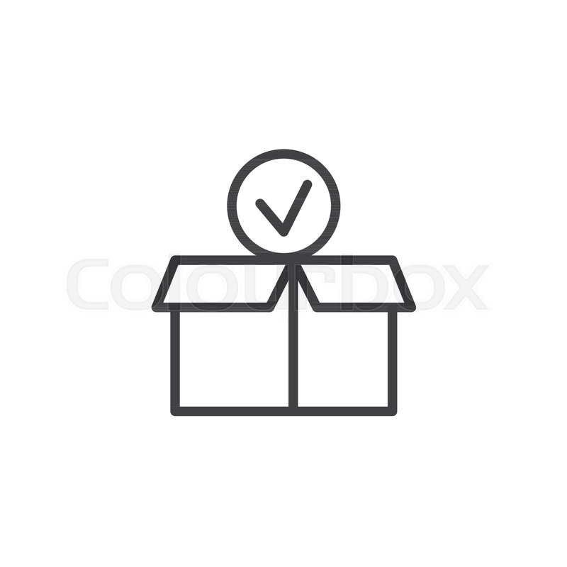 Package Paper Box With Check Mark Line Icon Outline Vector Sign