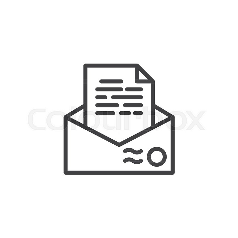 Recommendation Letter Envelope Line Icon Outline Vector Sign