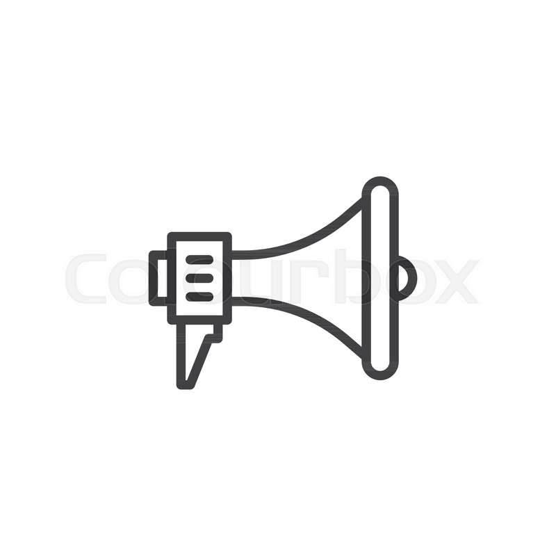 Loudspeaker line icon, outline vector sign, linear style pictogram ...