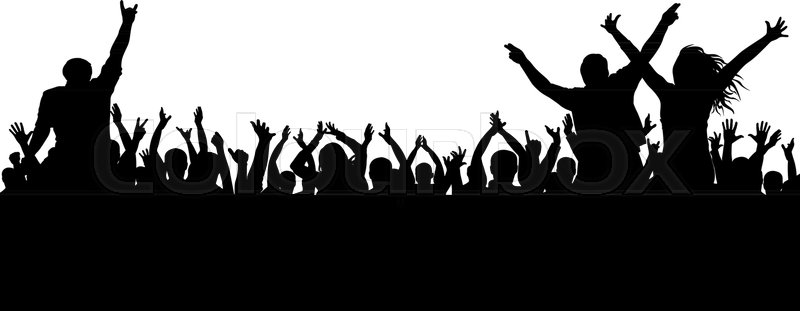cheerful crowd silhouette party people  applaud fans crown clipart crown clipart black and white