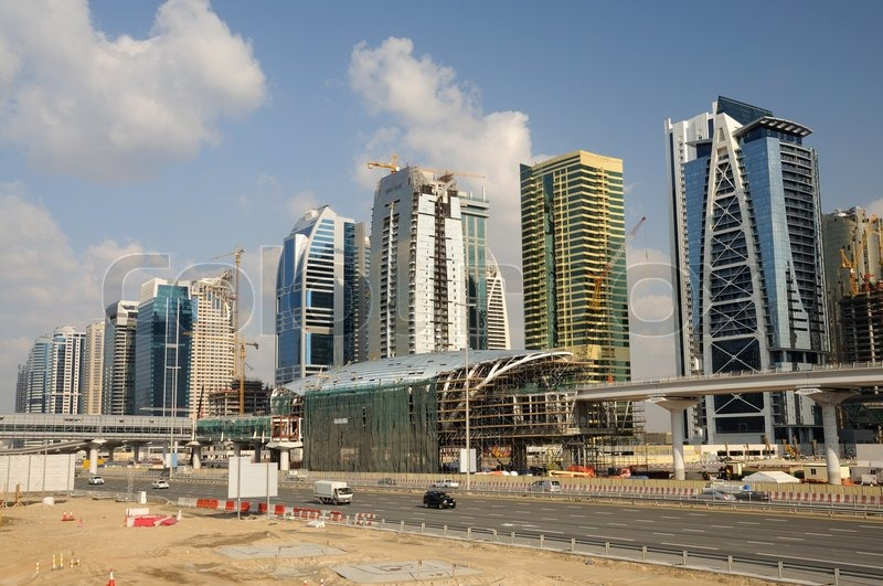 Developments In Dubai : Construction at sheikh zayed road in dubai stock photo