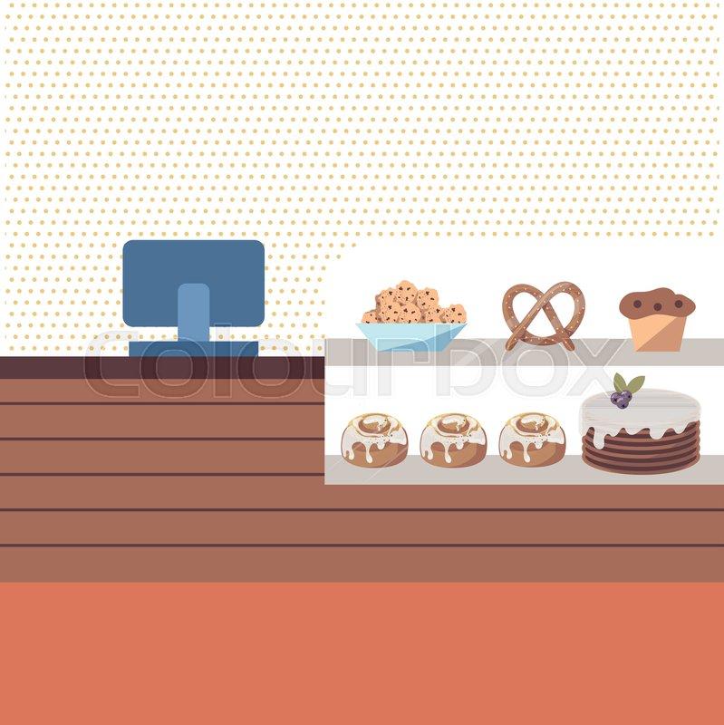 Background Illustration Of Bakery Shop Stock Vector