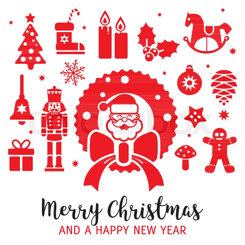Weihnachtliche Dekoration mit verschiedenen Weihnachtssymbolen ...
