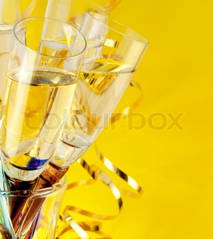 glasses with champagne a new years background stock photo colourbox