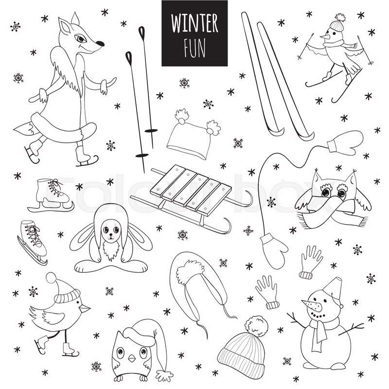 vector set of winter fun cute animals and birds hand drawn contour