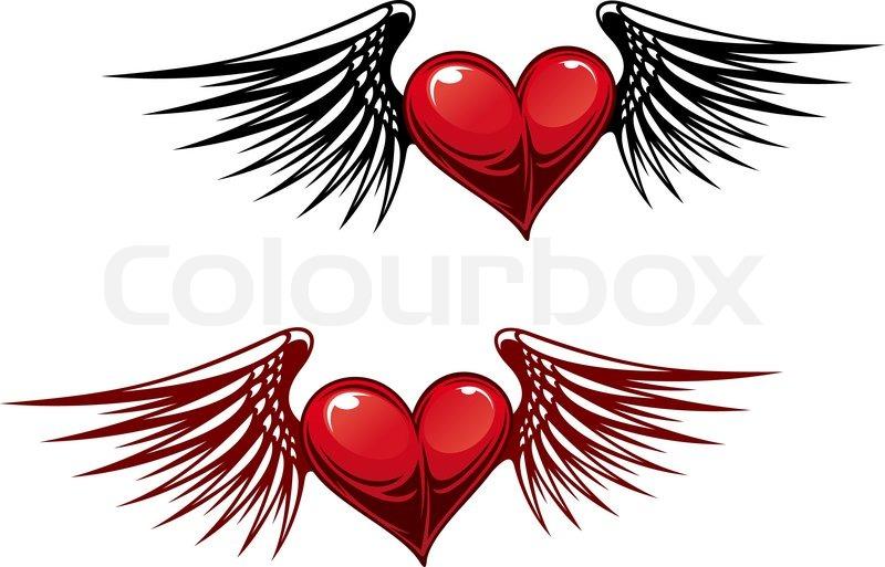 retro herz mit flügeln für tattoodesign  vektorgrafik