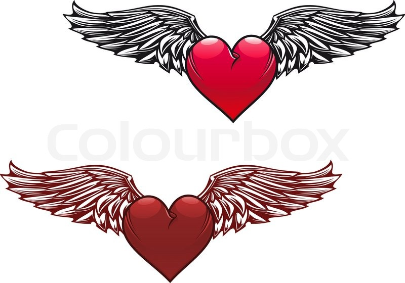 retro heart with wings for tattoo design stock vector