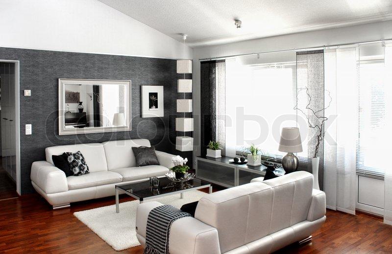 moderne stue stock billede colourbox. Black Bedroom Furniture Sets. Home Design Ideas