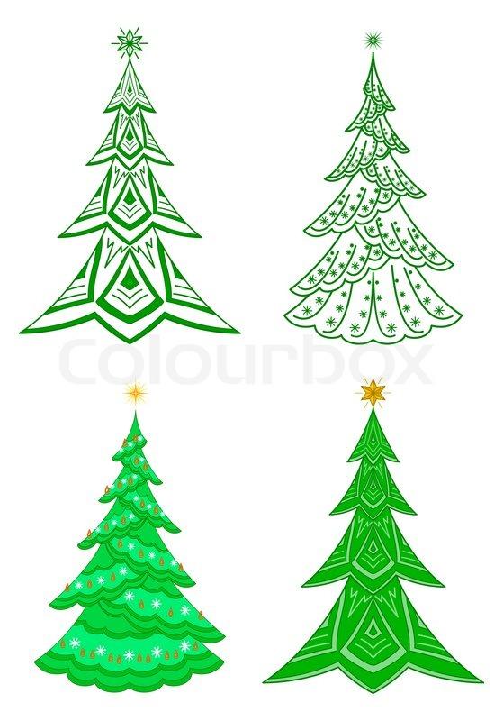 Christmas Trees Winter Holiday Symbols Set Isolated Stock Photo