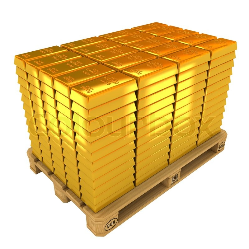 A Lot Of Gold Bars On The Pallet