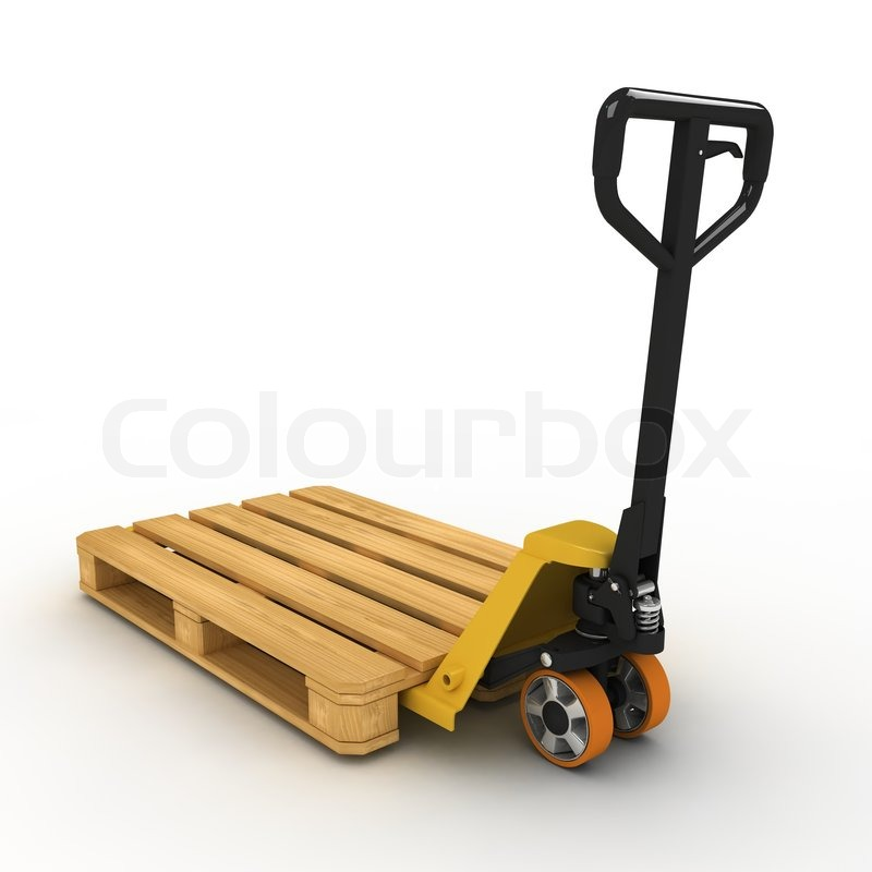 pallet truck stacked with pallet on white background