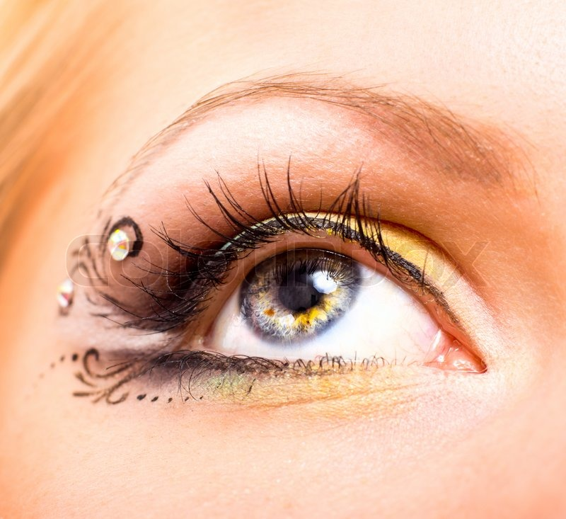 Close Up Beautiful Eye With Makeup Stock Photo Colourbox