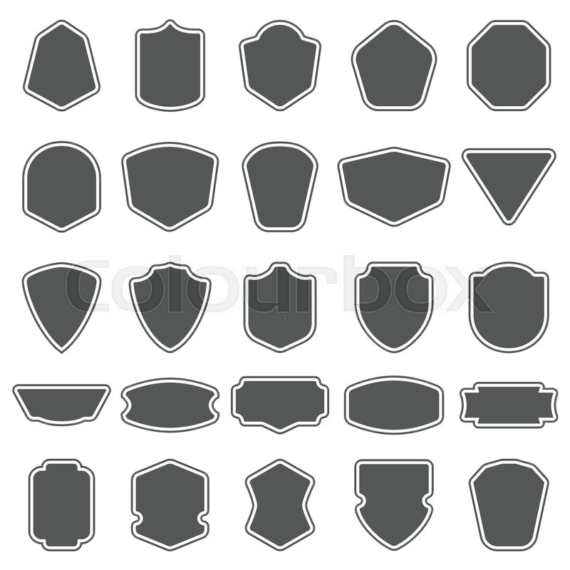 Set Of Blank Empty Dark Shields Shield Badge Shapes Vintage Vector Frames For Emblems Labels Insignia