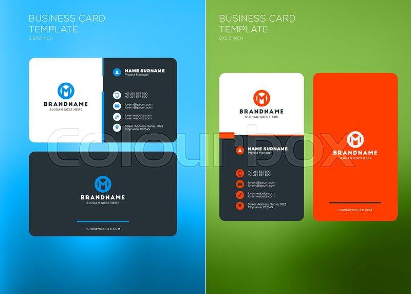 Corporate Business Card Print Template Vertical And Horizontal - 2 x 35 business card template