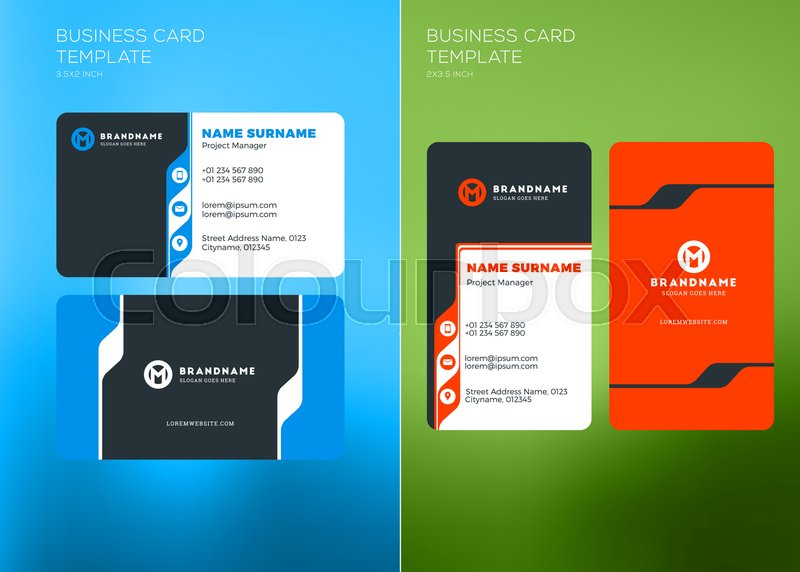 Corporate business card print template vertical and horizontal corporate business card print template vertical and horizontal business card templates vector illustration business card mockup vector flashek Image collections